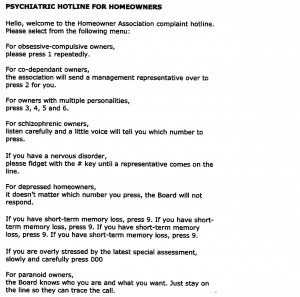 Some Friday Funny: Psychiatric Hotline for Homeowners