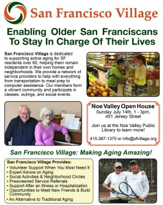 SF Village Open House – THIS Sunday, 7/14/13!